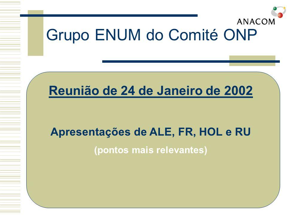 Grupo ENUM do Comité ONP Reunião de 24 de Janeiro de 2002 Apresentações de ALE, FR, HOL e RU (pontos mais relevantes)
