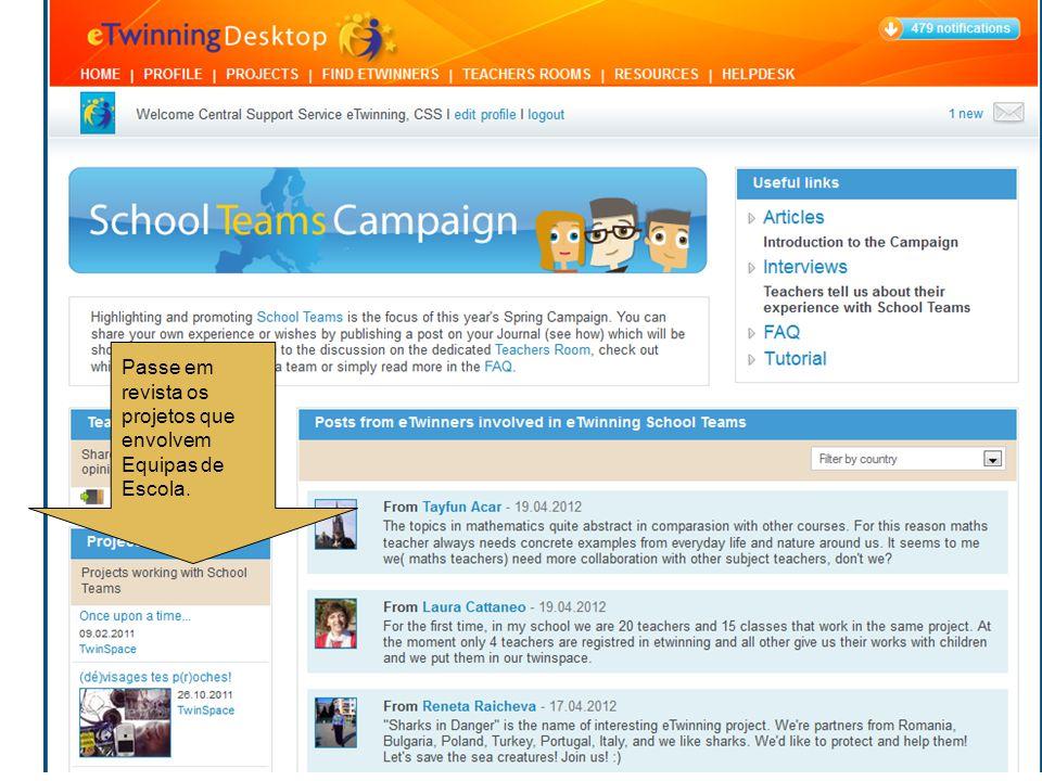 Passe em revista os projetos que envolvem Equipas de Escola.