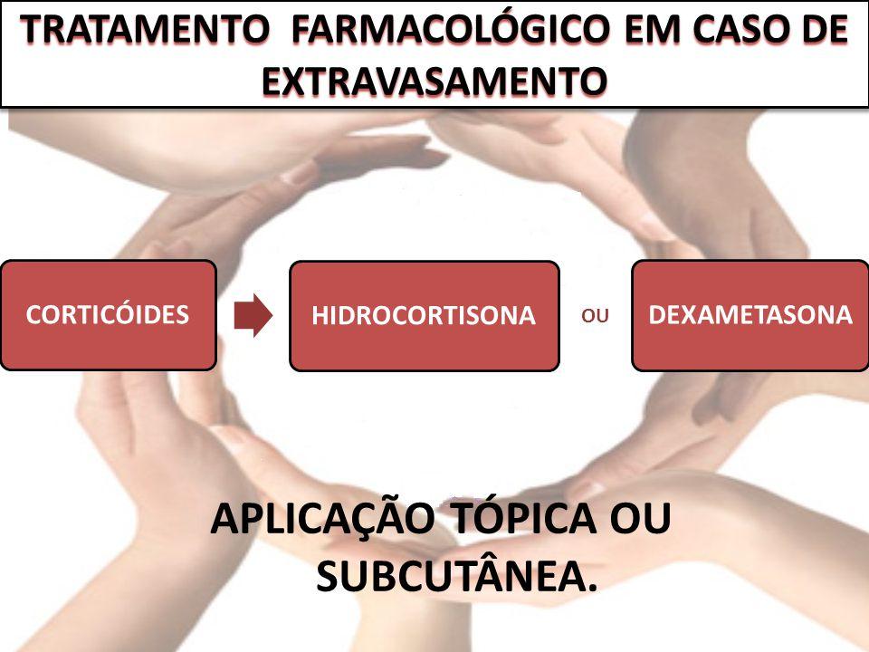 CORTICÓIDESHIDROCORTISONADEXAMETASONA APLICAÇÃO TÓPICA OU SUBCUTÂNEA. TRATAMENTO FARMACOLÓGICO EM CASO DE EXTRAVASAMENTO OU