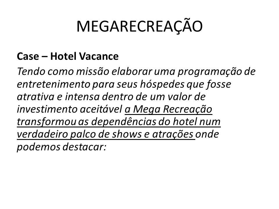 MEGARECREAÇÃO Case – Hotel Vacance Tendo como missão elaborar uma programação de entretenimento para seus hóspedes que fosse atrativa e intensa dentro