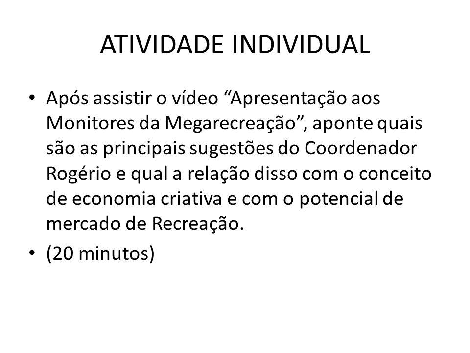 """ATIVIDADE INDIVIDUAL Após assistir o vídeo """"Apresentação aos Monitores da Megarecreação"""", aponte quais são as principais sugestões do Coordenador Rogé"""