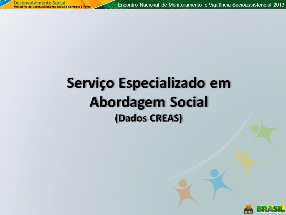 Encontro Nacional de Monitoramento e Vigilância Socioassistencial 2013 Serviço Especializado em Abordagem Social (Dados CREAS) Serviço Especializado em Abordagem Social (Dados CREAS)