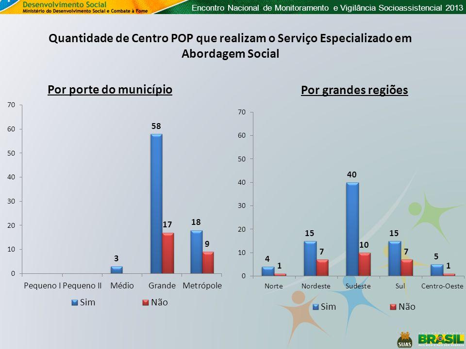 Encontro Nacional de Monitoramento e Vigilância Socioassistencial 2013 Quantidade de Centro POP que realizam o Serviço Especializado em Abordagem Social Por porte do município Por grandes regiões