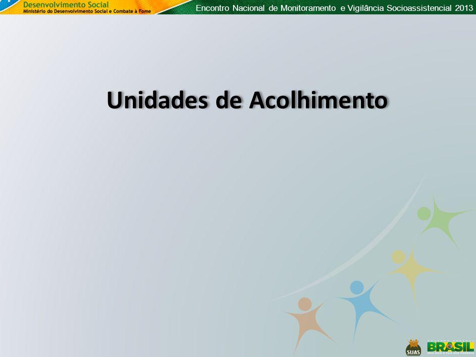 Encontro Nacional de Monitoramento e Vigilância Socioassistencial 2013 Unidades de Acolhimento
