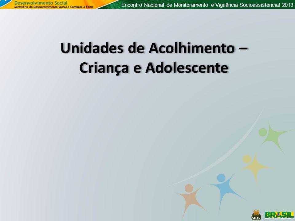 Encontro Nacional de Monitoramento e Vigilância Socioassistencial 2013 Unidades de Acolhimento – Criança e Adolescente Unidades de Acolhimento – Criança e Adolescente