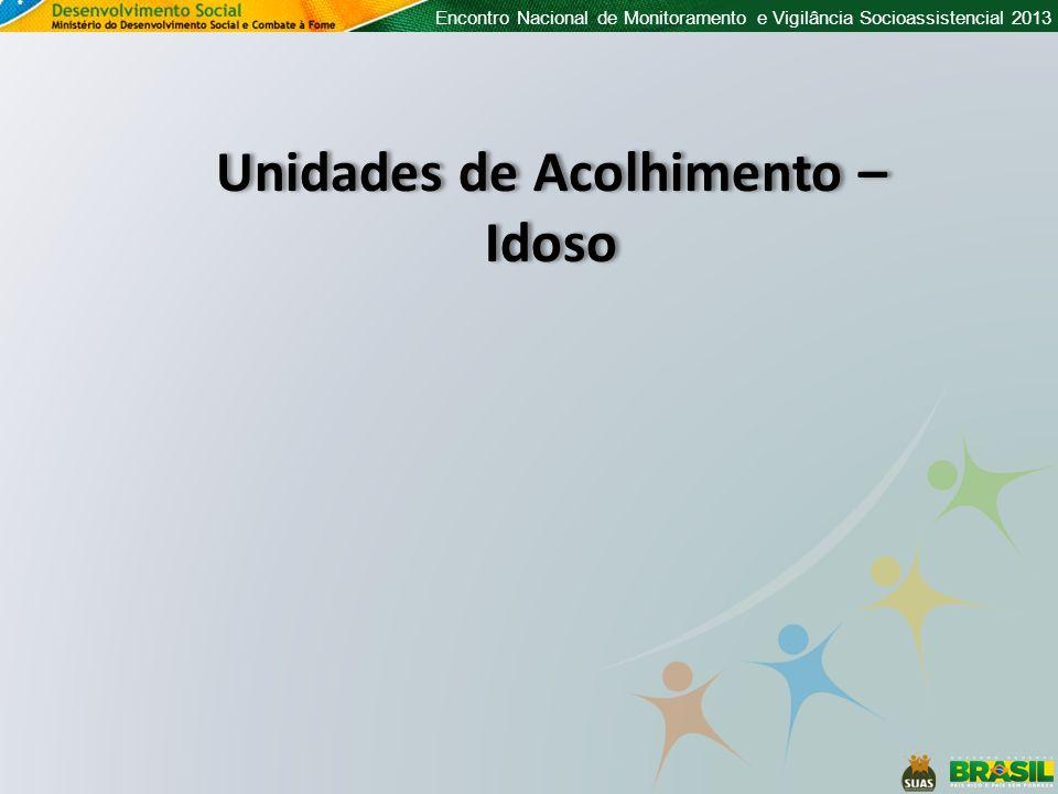 Encontro Nacional de Monitoramento e Vigilância Socioassistencial 2013 Unidades de Acolhimento – Idoso Unidades de Acolhimento – Idoso