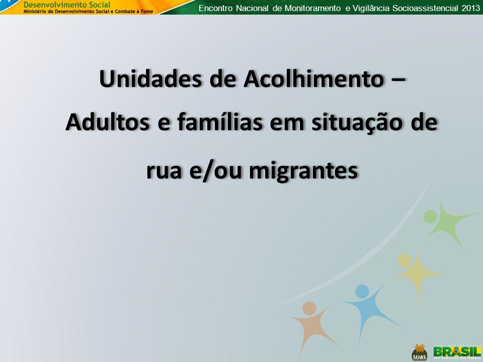 Encontro Nacional de Monitoramento e Vigilância Socioassistencial 2013 Unidades de Acolhimento – Adultos e famílias em situação de rua e/ou migrantes Unidades de Acolhimento – Adultos e famílias em situação de rua e/ou migrantes
