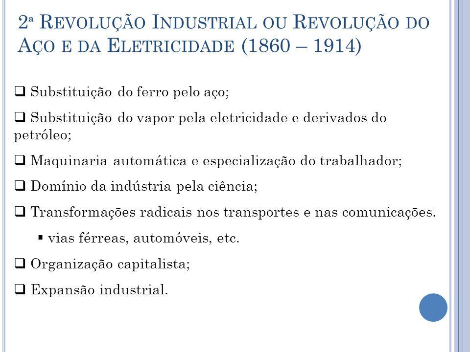 2 ª R EVOLUÇÃO I NDUSTRIAL OU R EVOLUÇÃO DO A ÇO E DA E LETRICIDADE (1860 – 1914)  Substituição do ferro pelo aço;  Substituição do vapor pela eletr