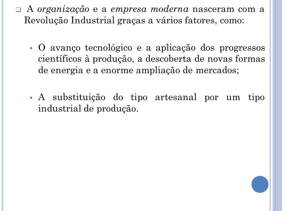  A organização e a empresa moderna nasceram com a Revolução Industrial graças a vários fatores, como:  O avanço tecnológico e a aplicação dos progre