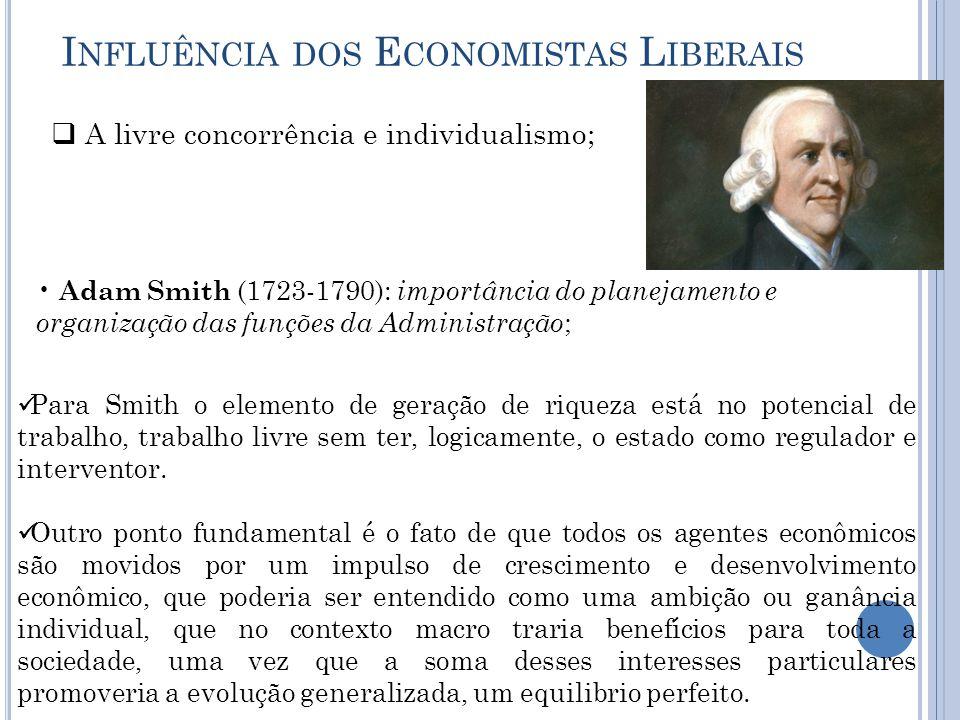 I NFLUÊNCIA DOS E CONOMISTAS L IBERAIS  A livre concorrência e individualismo; Adam Smith (1723-1790): importância do planejamento e organização das