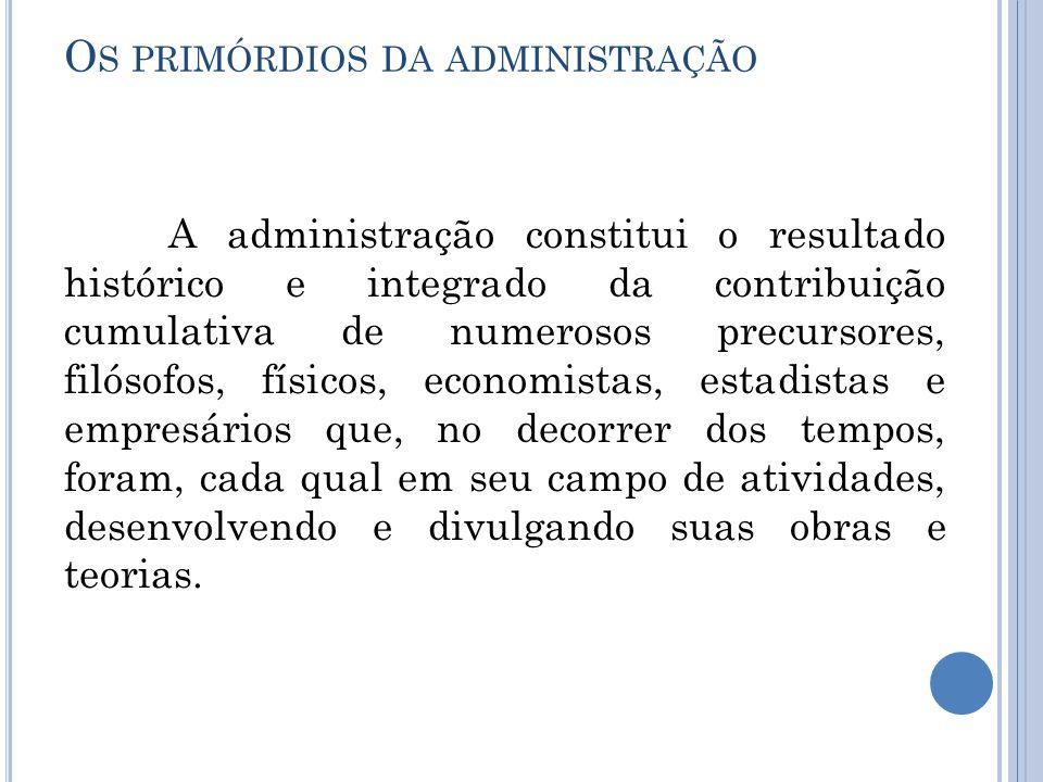 O S PRIMÓRDIOS DA ADMINISTRAÇÃO A administração constitui o resultado histórico e integrado da contribuição cumulativa de numerosos precursores, filós