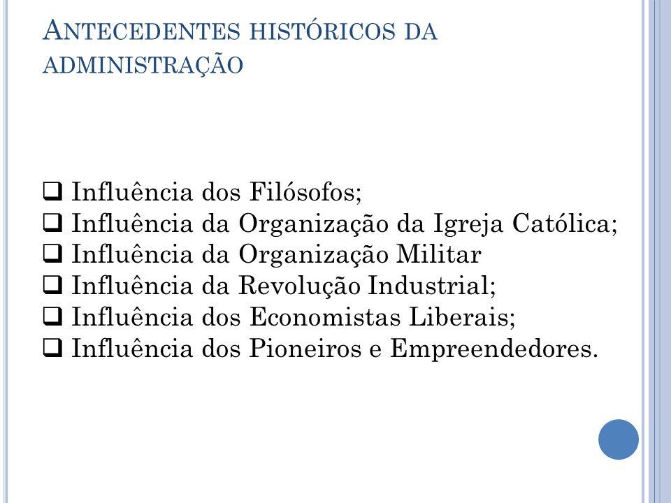 A NTECEDENTES HISTÓRICOS DA ADMINISTRAÇÃO  Influência dos Filósofos;  Influência da Organização da Igreja Católica;  Influência da Organização Mili