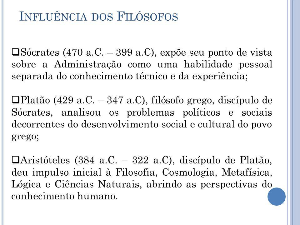 I NFLUÊNCIA DOS F ILÓSOFOS  Sócrates (470 a.C. – 399 a.C), expõe seu ponto de vista sobre a Administração como uma habilidade pessoal separada do con