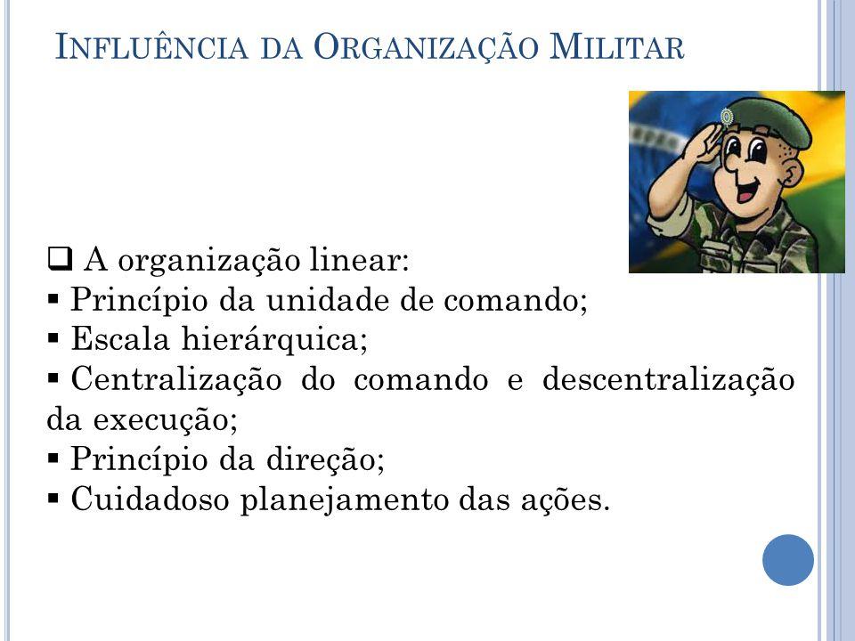 I NFLUÊNCIA DA O RGANIZAÇÃO M ILITAR  A organização linear:  Princípio da unidade de comando;  Escala hierárquica;  Centralização do comando e descentralização da execução;  Princípio da direção;  Cuidadoso planejamento das ações.