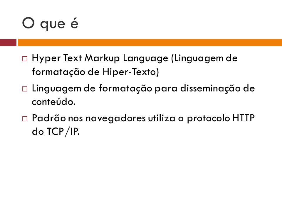 O que é  Hyper Text Markup Language (Linguagem de formatação de Hiper-Texto)  Linguagem de formatação para disseminação de conteúdo.  Padrão nos na