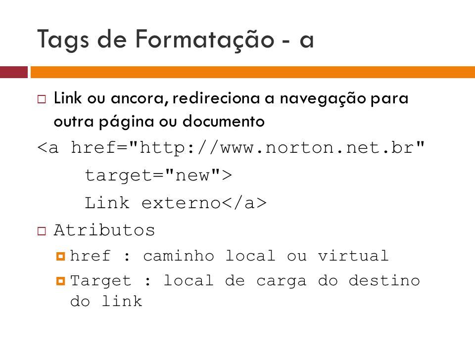 Tags de Formatação - a  Link ou ancora, redireciona a navegação para outra página ou documento <a href=