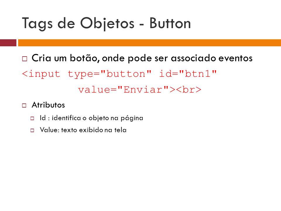 Tags de Objetos - Button  Cria um botão, onde pode ser associado eventos <input type=