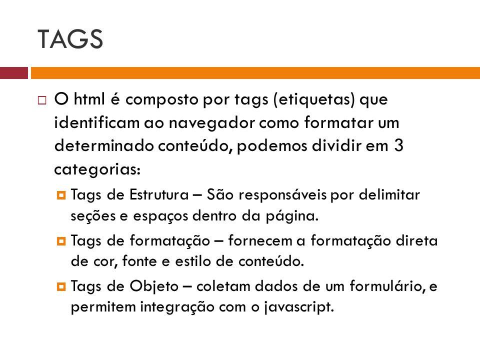 TAGS  O html é composto por tags (etiquetas) que identificam ao navegador como formatar um determinado conteúdo, podemos dividir em 3 categorias:  T