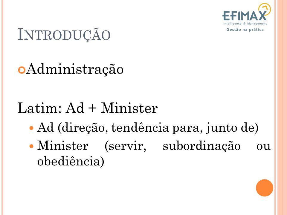 I NTRODUÇÃO Administração Latim: Ad + Minister Ad (direção, tendência para, junto de) Minister (servir, subordinação ou obediência)