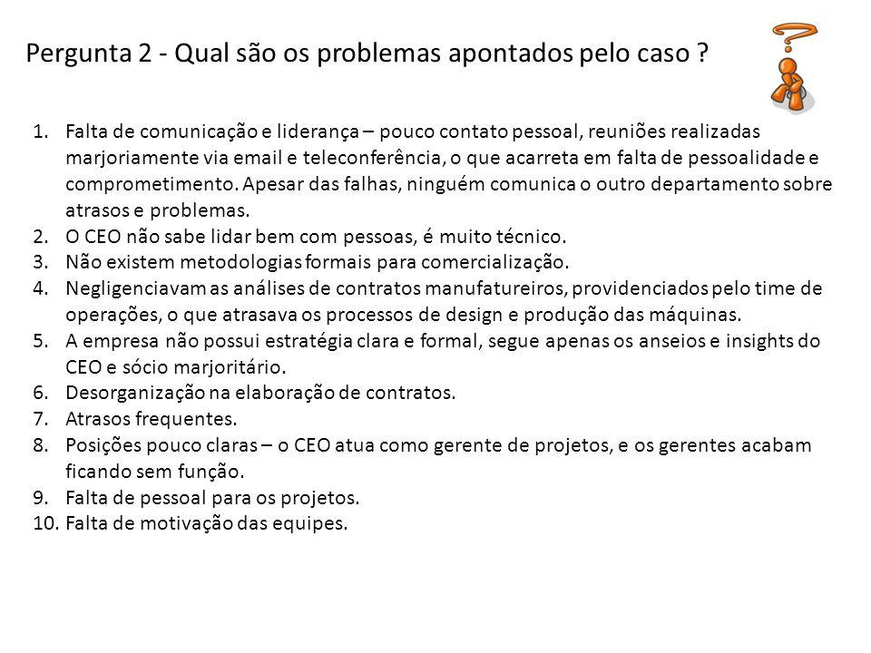 Pergunta 2 - Qual são os problemas apontados pelo caso ? 1.Falta de comunicação e liderança – pouco contato pessoal, reuniões realizadas marjoriamente
