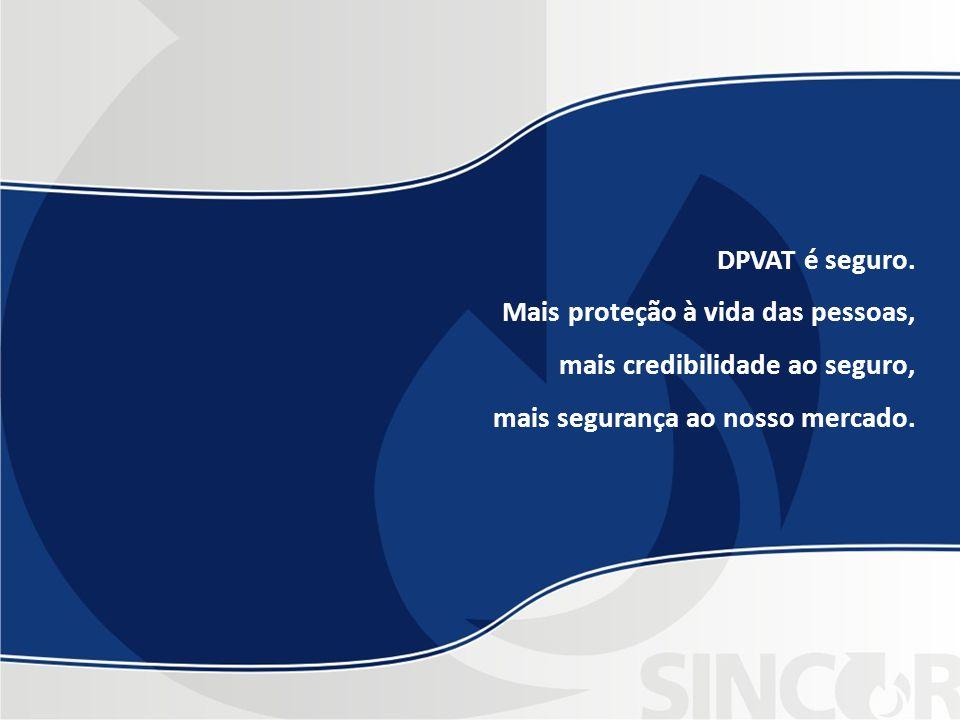 DPVAT é seguro. Mais proteção à vida das pessoas, mais credibilidade ao seguro, mais segurança ao nosso mercado.