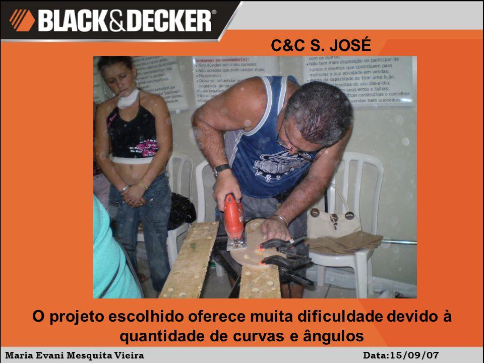 Maria Evani Mesquita Vieira Data:15/09/07 C&C S. JOSÉ O projeto escolhido oferece muita dificuldade devido à quantidade de curvas e ângulos