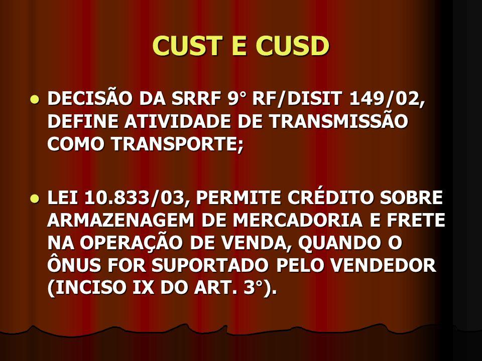 CUST E CUSD DECISÃO DA SRRF 9° RF/DISIT 149/02, DEFINE ATIVIDADE DE TRANSMISSÃO COMO TRANSPORTE; DECISÃO DA SRRF 9° RF/DISIT 149/02, DEFINE ATIVIDADE