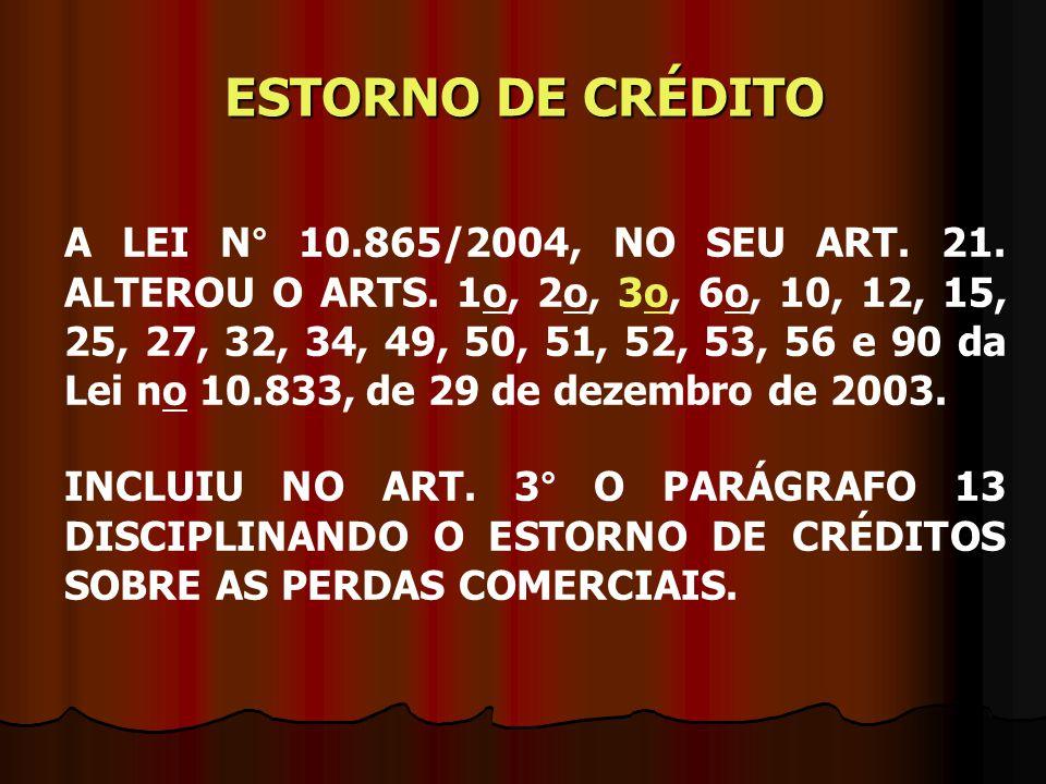 ESTORNO DE CRÉDITO A LEI N° 10.865/2004, NO SEU ART. 21. ALTEROU O ARTS. 1o, 2o, 3o, 6o, 10, 12, 15, 25, 27, 32, 34, 49, 50, 51, 52, 53, 56 e 90 da Le