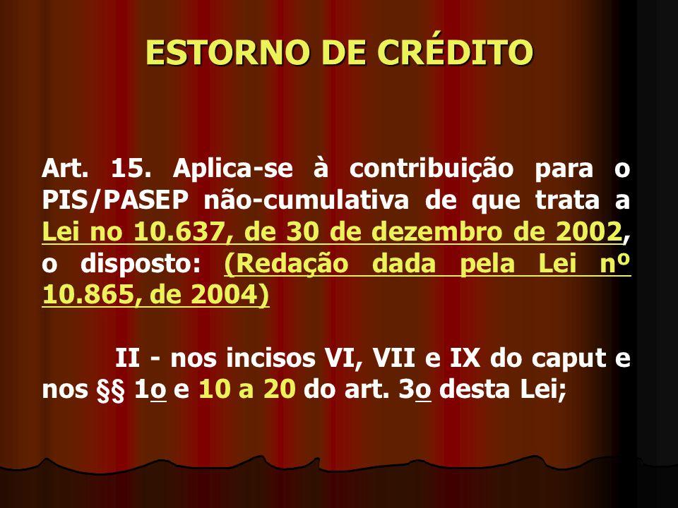 Art. 15. Aplica-se à contribuição para o PIS/PASEP não-cumulativa de que trata a Lei no 10.637, de 30 de dezembro de 2002, o disposto: (Redação dada p