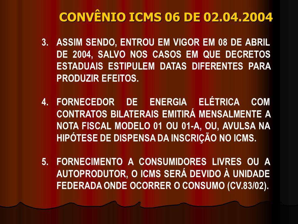 3.ASSIM SENDO, ENTROU EM VIGOR EM 08 DE ABRIL DE 2004, SALVO NOS CASOS EM QUE DECRETOS ESTADUAIS ESTIPULEM DATAS DIFERENTES PARA PRODUZIR EFEITOS. 4.F