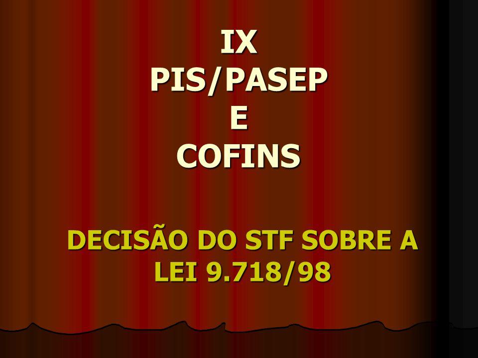 IX PIS/PASEP E COFINS DECISÃO DO STF SOBRE A LEI 9.718/98