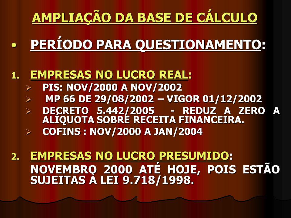 PERÍODO PARA QUESTIONAMENTO:PERÍODO PARA QUESTIONAMENTO: 1. EMPRESAS NO LUCRO REAL:  PIS: NOV/2000 A NOV/2002  MP 66 DE 29/08/2002 – VIGOR 01/12/200