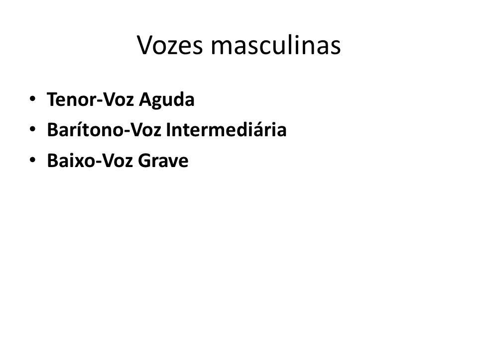Vozes masculinas Tenor-Voz Aguda Barítono-Voz Intermediária Baixo-Voz Grave