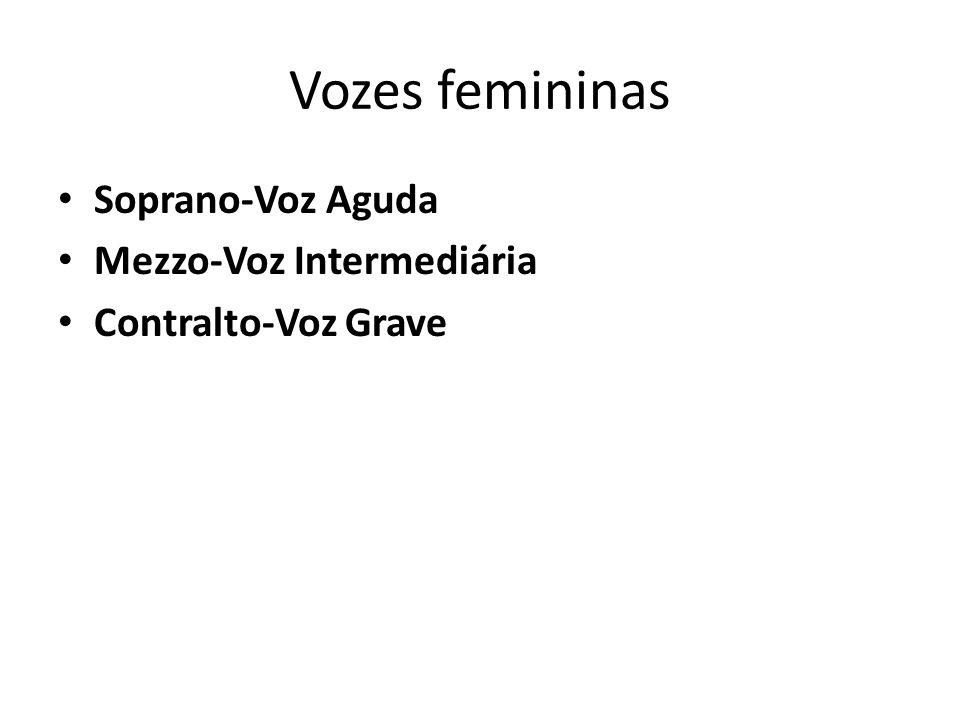 Vozes femininas Soprano-Voz Aguda Mezzo-Voz Intermediária Contralto-Voz Grave