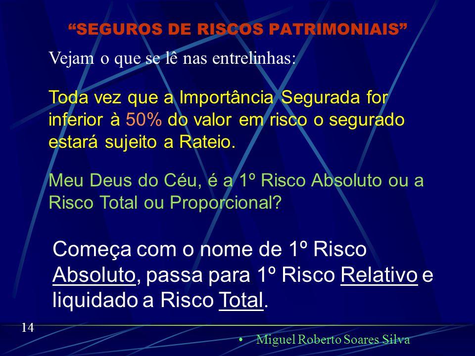 "Miguel Roberto Soares Silva 13 ""SEGUROS DE RISCOS PATRIMONIAIS"" O conceito de Rateio hoje, é um despropósito. Antes, seguro a 1º Risco Absoluto era aq"