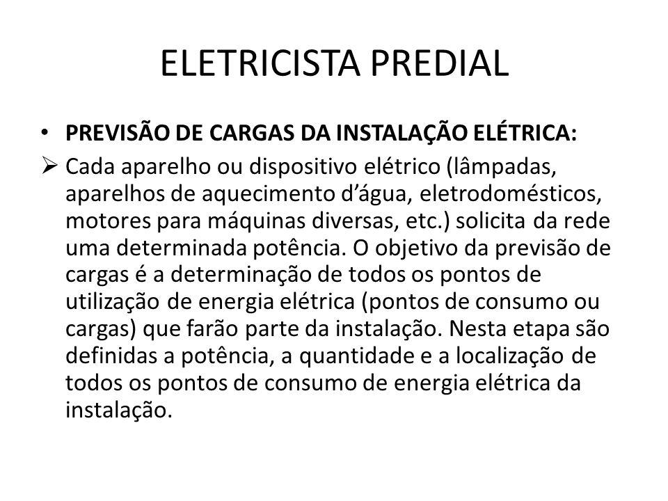 ELETRICISTA PREDIAL PREVISÃO DE CARGAS DA INSTALAÇÃO ELÉTRICA:  Cada aparelho ou dispositivo elétrico (lâmpadas, aparelhos de aquecimento d'água, ele