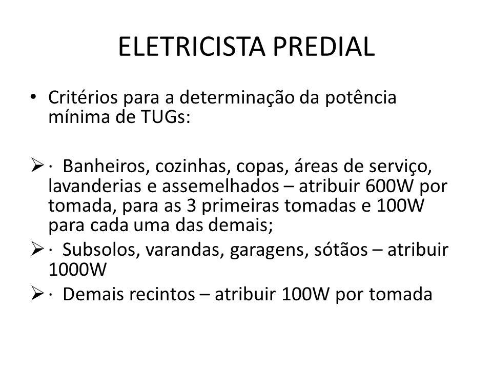 ELETRICISTA PREDIAL Critérios para a determinação da potência mínima de TUGs:  · Banheiros, cozinhas, copas, áreas de serviço, lavanderias e assemelh