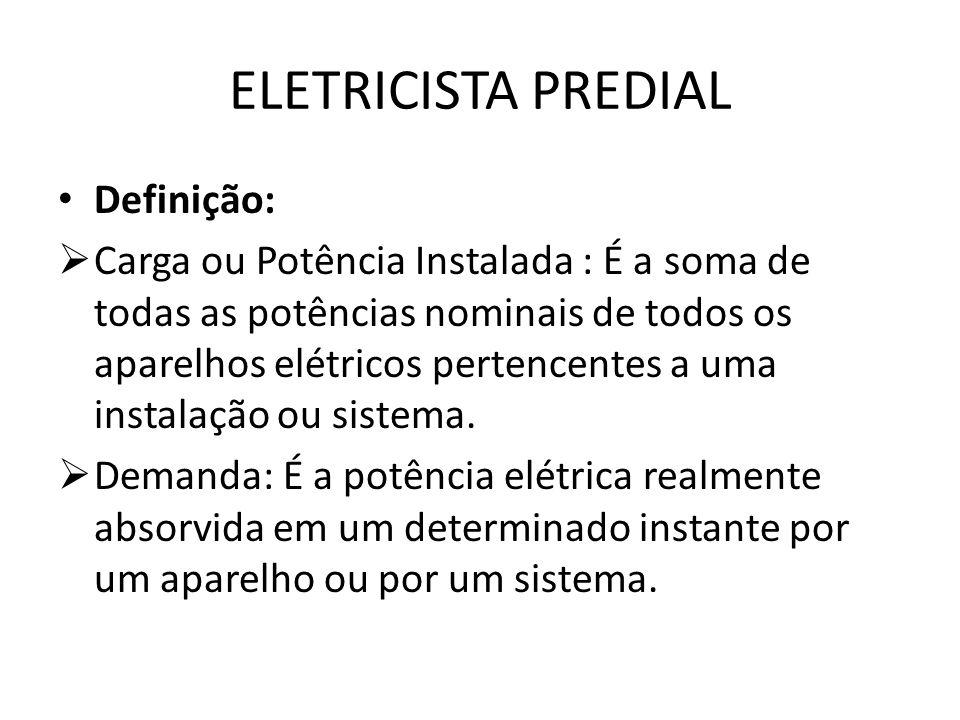 ELETRICISTA PREDIAL Definição:  Carga ou Potência Instalada : É a soma de todas as potências nominais de todos os aparelhos elétricos pertencentes a