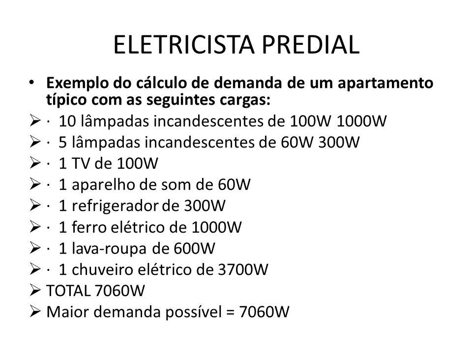ELETRICISTA PREDIAL Exemplo do cálculo de demanda de um apartamento típico com as seguintes cargas:  · 10 lâmpadas incandescentes de 100W 1000W  · 5