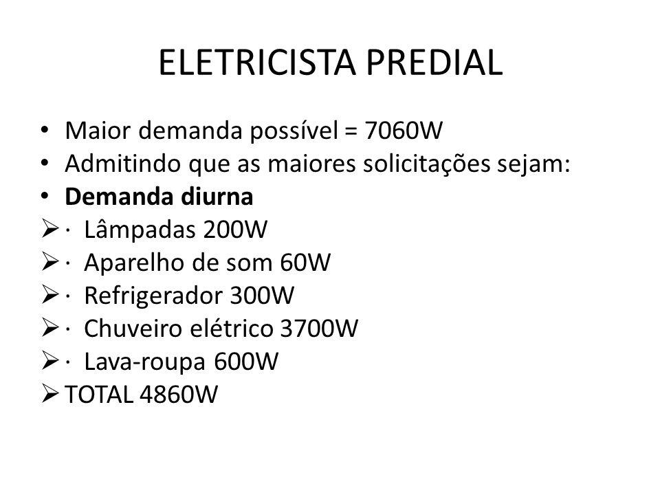 ELETRICISTA PREDIAL Maior demanda possível = 7060W Admitindo que as maiores solicitações sejam: Demanda diurna  · Lâmpadas 200W  · Aparelho de som 6