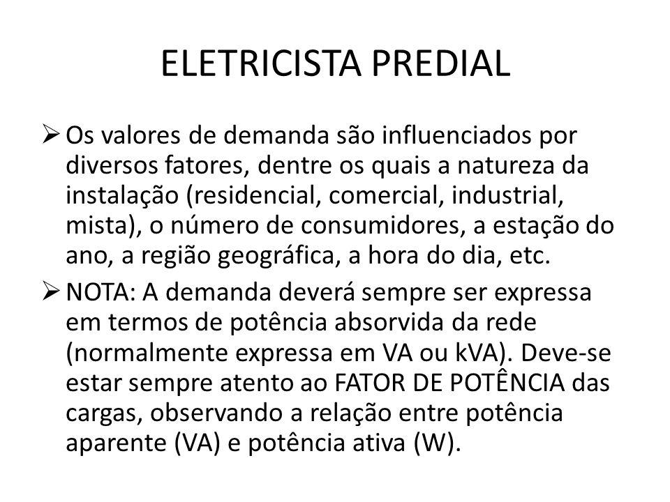 ELETRICISTA PREDIAL  Os valores de demanda são influenciados por diversos fatores, dentre os quais a natureza da instalação (residencial, comercial,