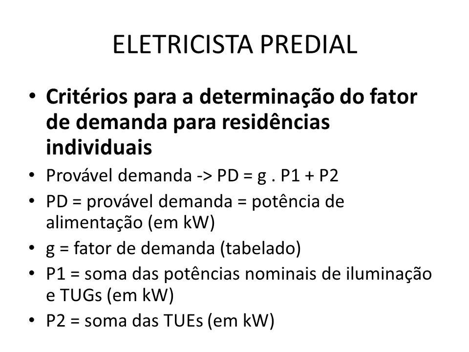 ELETRICISTA PREDIAL Critérios para a determinação do fator de demanda para residências individuais Provável demanda -> PD = g. P1 + P2 PD = provável d