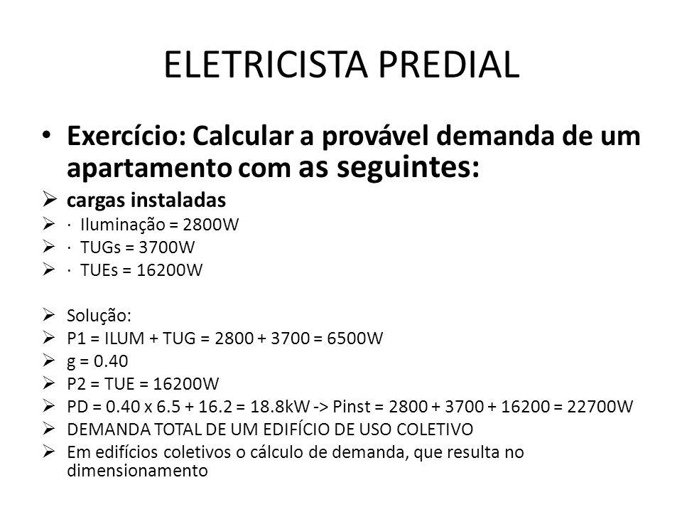 ELETRICISTA PREDIAL Exercício: Calcular a provável demanda de um apartamento com as seguintes:  cargas instaladas  · Iluminação = 2800W  · TUGs = 3