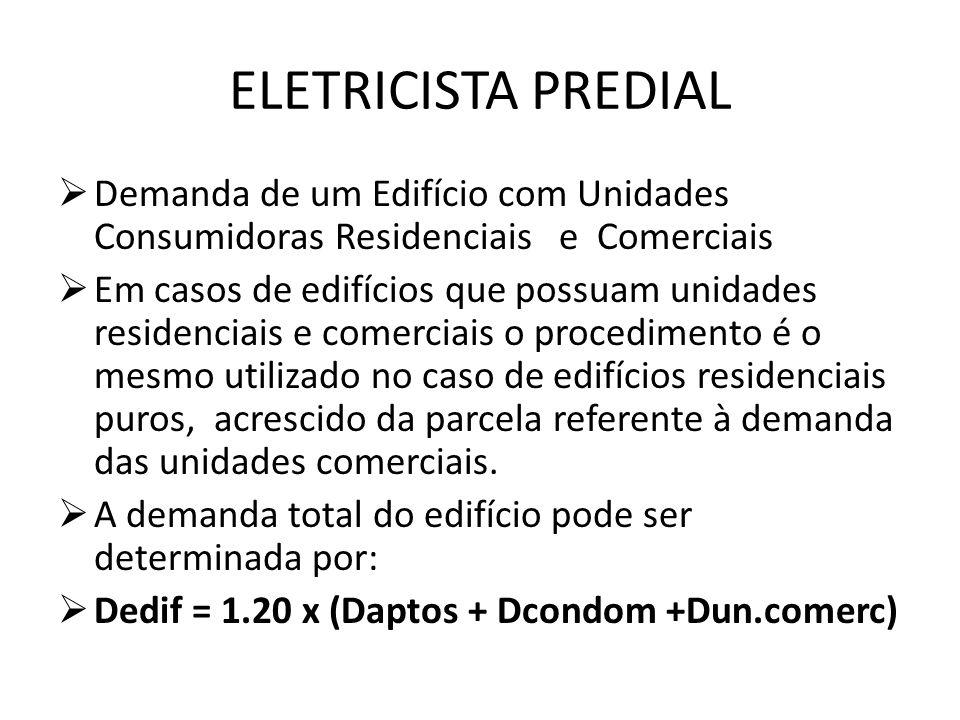 ELETRICISTA PREDIAL  Demanda de um Edifício com Unidades Consumidoras Residenciais e Comerciais  Em casos de edifícios que possuam unidades residenc