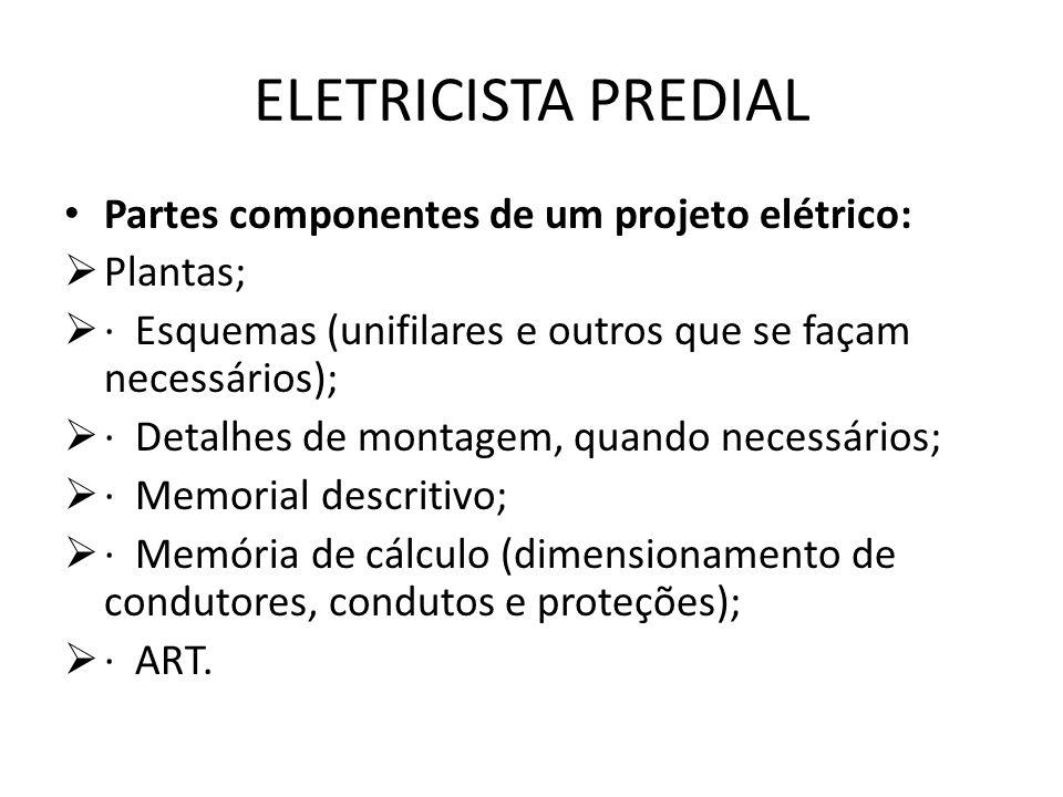 ELETRICISTA PREDIAL Partes componentes de um projeto elétrico:  Plantas;  · Esquemas (unifilares e outros que se façam necessários);  · Detalhes de