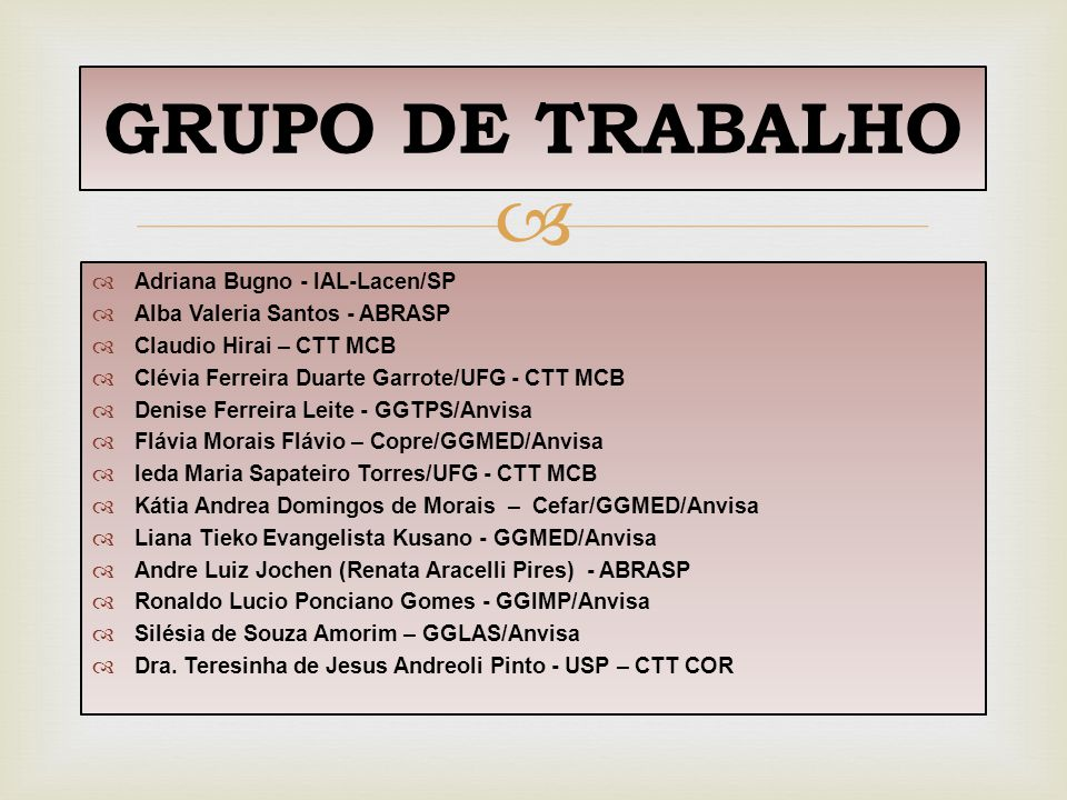   Adriana Bugno - IAL-Lacen/SP  Alba Valeria Santos - ABRASP  Claudio Hirai – CTT MCB  Clévia Ferreira Duarte Garrote/UFG - CTT MCB  Denise Ferr