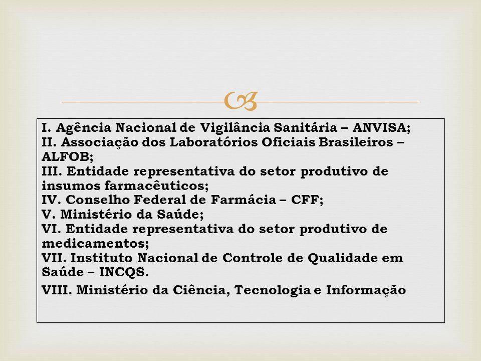  I. Agência Nacional de Vigilância Sanitária – ANVISA; II. Associação dos Laboratórios Oficiais Brasileiros – ALFOB; III. Entidade representativa do