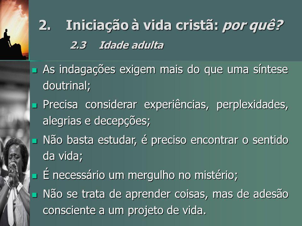 2.Iniciação à vida cristã: por quê? 2.3Idade adulta As indagações exigem mais do que uma síntese doutrinal; As indagações exigem mais do que uma sínte