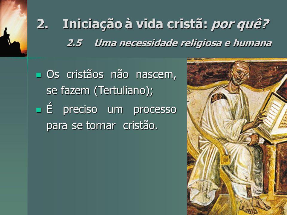 2.Iniciação à vida cristã: por quê? 2.5Uma necessidade religiosa e humana Os cristãos não nascem, se fazem (Tertuliano); Os cristãos não nascem, se fa