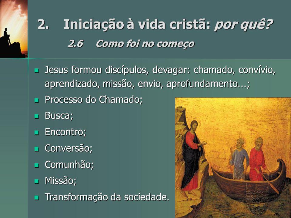 2.Iniciação à vida cristã: por quê? 2.6Como foi no começo Jesus formou discípulos, devagar: chamado, convívio, aprendizado, missão, envio, aprofundame